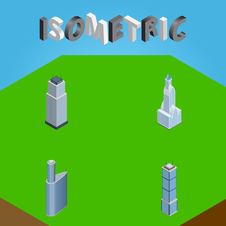 Isometric Construction Set Of Building, Apartment, Tower And Other Vector Objects
