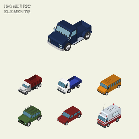 Isometric Automobile Set Of Lorry, Armored, Car And Other Vector Objects