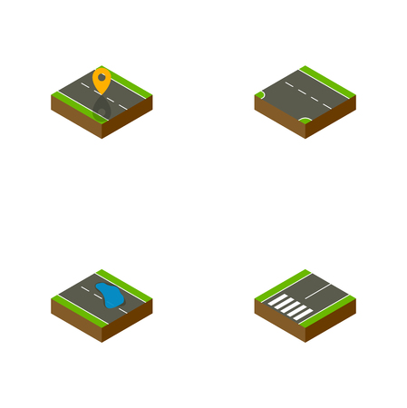 tarmac: Isometric Road Set Of Plash, Navigation, Footpassenger And Other Vector Objects