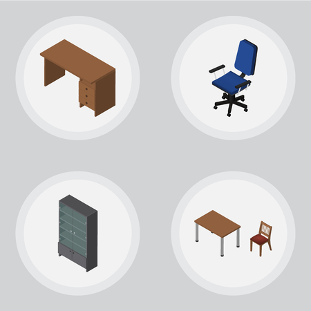 Isometric Design Set Of Office, Table, Sideboard And Other Vector Objects