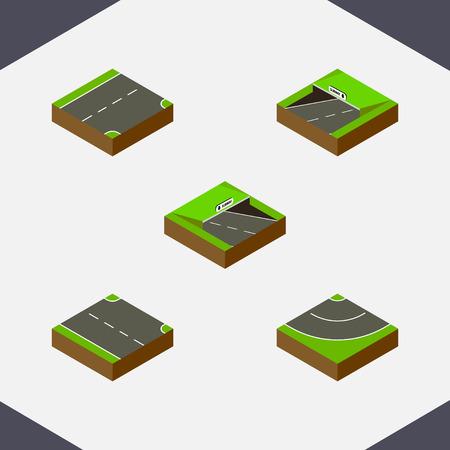 右のセットは等尺性道路、地下鉄、ダウンやその他ベクトル オブジェクト  イラスト・ベクター素材