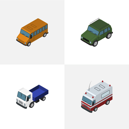 Isometric Transport Set Of Autobus, First-Aid, Lorry And Other Vector Objects