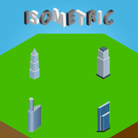 Isometric Skyscraper Set Of Residential, Building, Exterior And Other Vector Objects