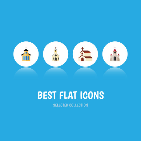 pink roof: Flat Icon Church Set Of Traditional, Religion, Building And Other Vector Objects