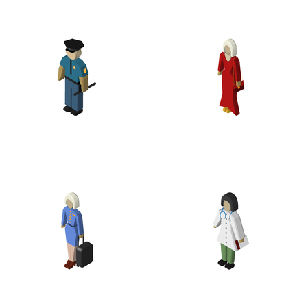 Isometric Human Set Of Doctor, Officer, Hostess And Other Vector Objects