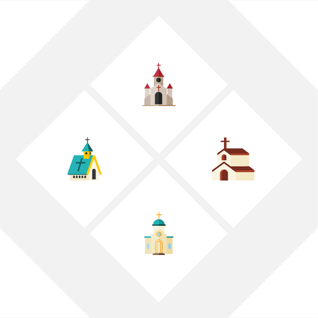 pink roof: Flat Icon Church Set Of Religion, Architecture, Traditional And Other Vector Objects. Also Includes Religion, Catholic, Architecture Elements.