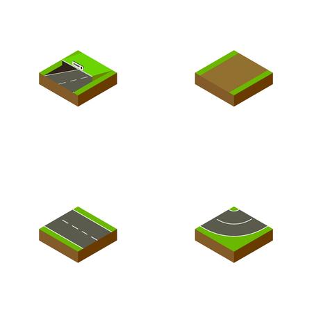 等尺性道路 1 車線、地下鉄、道、他のベクトル オブジェクトのセット  イラスト・ベクター素材