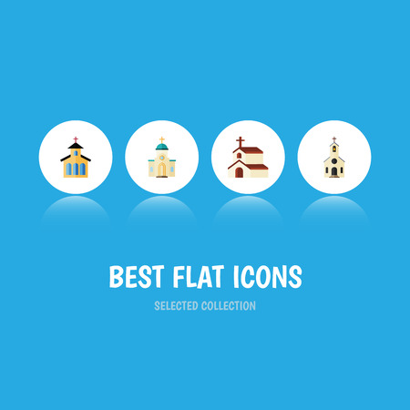 pink roof: Flat Icon Christian Set Of Building, Catholic, Religious And Other Vector Objects Illustration