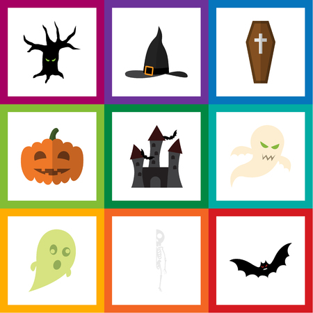 flying coffin: Flat Icon Celebrate Set Of Witch Cap, Fortress, Superstition And Other Vector Objects. Also Includes Tree, Terrible, Witch Elements.
