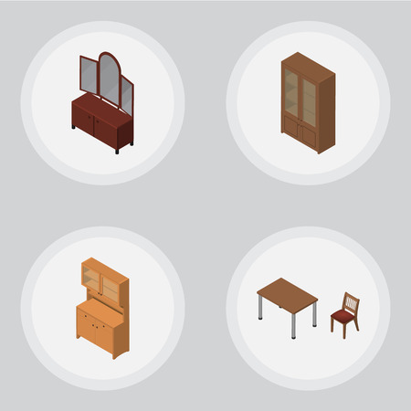 Isometric Furnishing Set Of Cupboard, Drawer, Cabinet And Other Vector Objects. Also Includes Sideboard, Closet, Cabinet Elements. Illustration