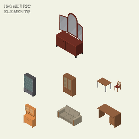 Isometric Furniture Set Of Cabinet, Couch, Chair And Other Vector Objects. Also Includes Cabinet, Mirror, Furniture Elements.
