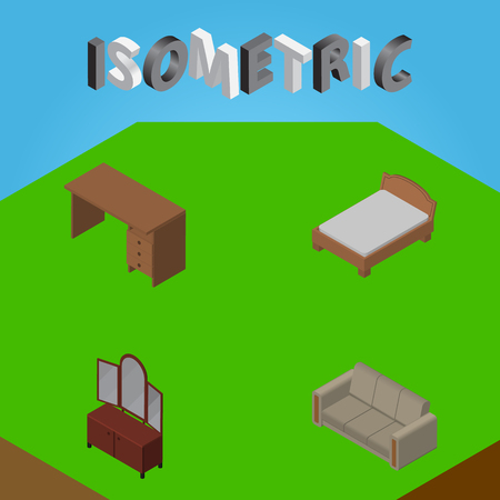 Isometric Design Set Of Bedstead, Couch, Table And Other Vector Objects. Also Includes Cupboard, Sideboard, Couch Elements.