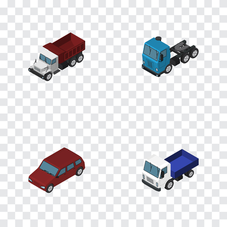 moving truck: Isometric Transport Set Of Freight, Car, Truck And Other Vector Objects