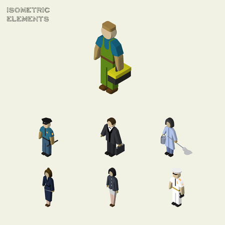 Isometric Human Set Of Girl, Seaman, Housemaid And Other Vector Objects Illustration