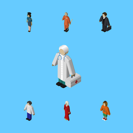 Isometric Human Set Of Male, Investor, Medic And Other Vector Objects Ilustração