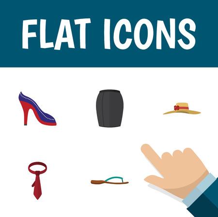 Flat Icon Garment Set Of Heeled Shoe, Stylish Apparel, Beach Sandal Vector Objects. Also Includes Necktie, Headgear, Woman Elements. Illustration