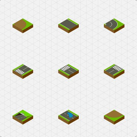 Isometric Way Set Of Rotation, Asphalt, Subway And Other Vector Objects