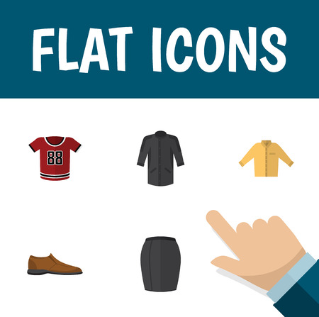 Flat Icon Clothes Set Of Banyan, Stylish Apparel, Uniform And Other Vector Objects