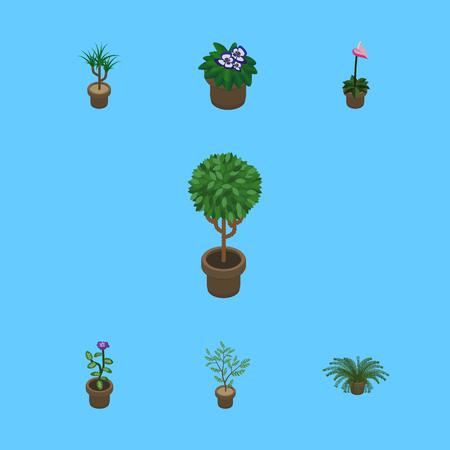 Isometric Plant Set Of Flower, Tree, Grower And Other Vector Objects. Also Includes Flower, Houseplant, Pot Elements. Illustration
