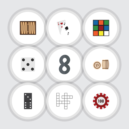 Flat Icon Entertainment Set Of Bones Game, Ace, Backgammon And Other Vector Objects
