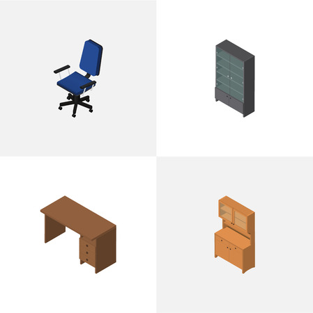Isometric Furnishing Set Of Sideboard, Cupboard, Office And Other Vector Objects Illustration