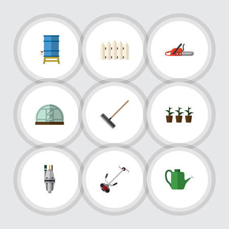 Flat Icon Farm Set Of Hothouse, Container, Grass-Cutter And Other Vector Objects illustration. Illustration