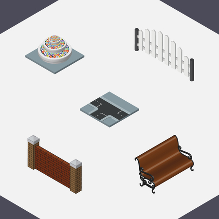 Isometric City Set Of Barrier, Sitting, Barricade And Other Vector Objects. Also Includes Brick, Plants, Seat Elements.