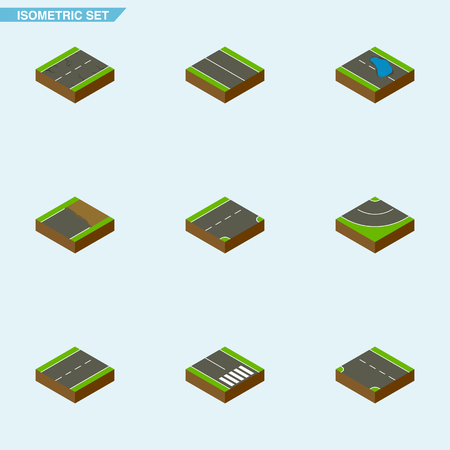 Isometric Way Set Of Pedestrian, Down, Cracks And Other Vector Objects. Also Includes Plash, Earthquake, Asphalt Elements.