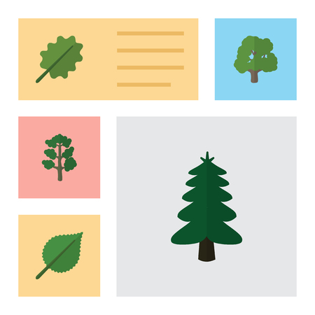 aspen leaf: Flat Icon Natural Set Of Linden, Forest, Park And Other Vector Objects Illustration
