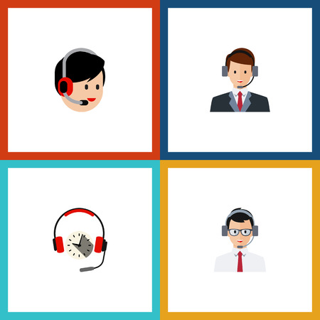 narrator: Flat Icon Hotline Set Of Operator, Help, Headphone And Other Vector Objects