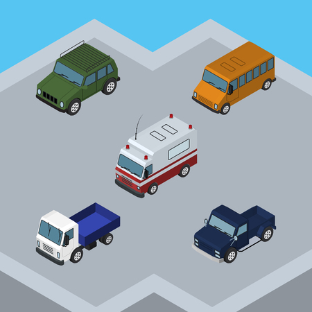 Isometric Transport Set Of Suv, Autobus, Armored And Other Vector Objects Illustration