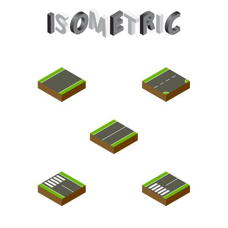 Footpassenger、ストリップ、等尺性道路セット ダウンと他のベクトル オブジェクト