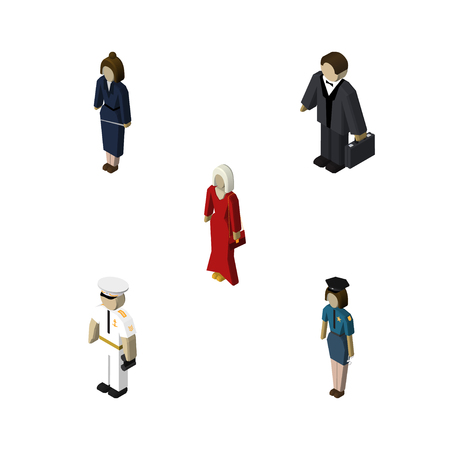 Isometric Human Set Of Businesswoman, Female, Investor And Other Vector Objects Illustration