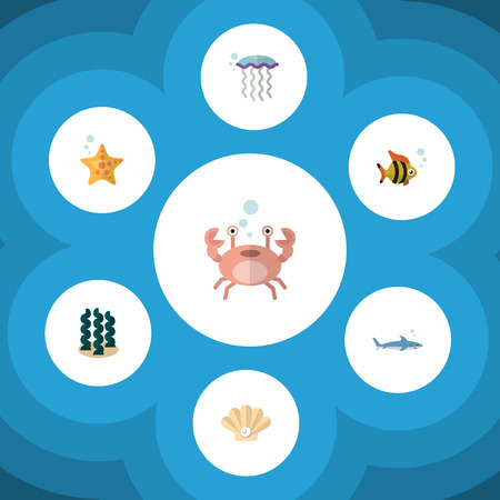 Flat Icon Sea Set Of Alga, Seafood, Cancer And Other Vector Objects Illustration