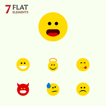 Flat Icon Emoji Set Of Angel, Delicious Food, Grin And Other Vector Objects Illustration