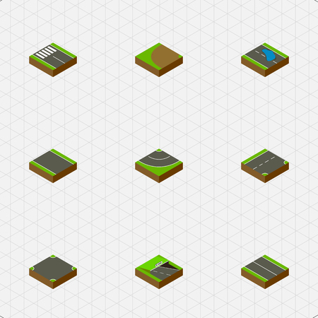 Isometric Way Set Of Plash, Down, Road And Other Vector Objects Illustration