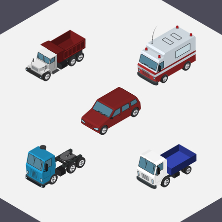 medical drawing: Isometric Automobile Set Of First-Aid, Truck, Lorry And Other Vector Objects