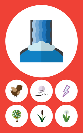 Flat Icon Nature Set Of Bird, Cattail, Lightning And Other Vector Objects Illustration