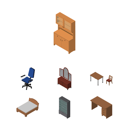 Isometric Design Set Of Cupboard, Office, Sideboard And Other Vector Objects Illustration