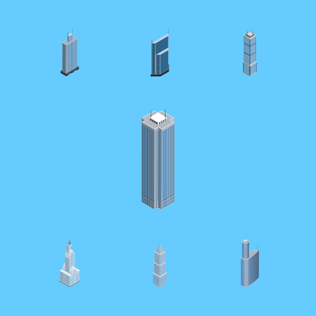 Isometric Construction Set Of Residential, Apartment, Exterior And Other Vector Objects