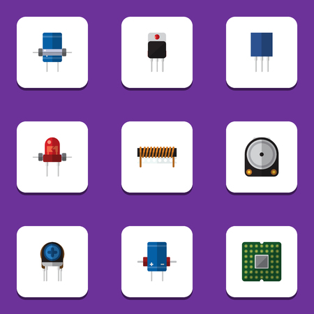 Flat Icon Device Set Of Transducer, Receiver, Hdd And Other Vector Objects Illustration