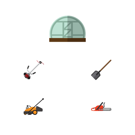 Flat Icon Farm Set Of Hothouse, Shovel, Grass-Cutter And Other Vector Objects Illustration