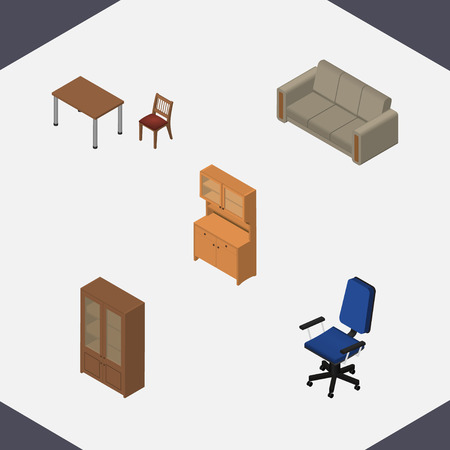 Isometric Design Set Of Office, Couch, Chair And Other Vector Objects