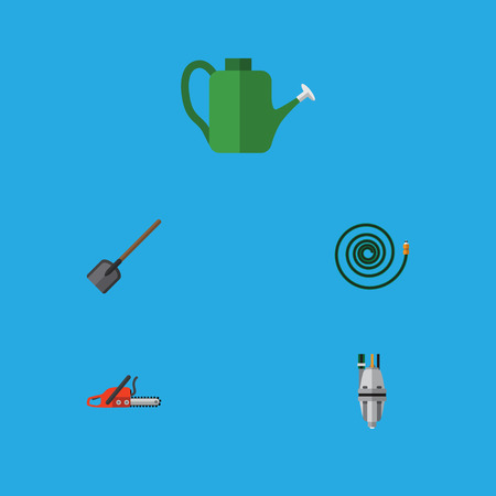 Flat Icon Farm Set Of Pump, Bailer, Shovel And Other Vector Objects