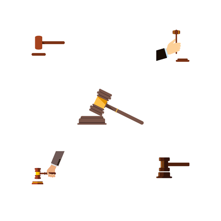 Flat Icon Court Set Of Crime, Law, Court And Other Vector Objects. Also Includes Hammer, Crime, Legal Elements. Illustration