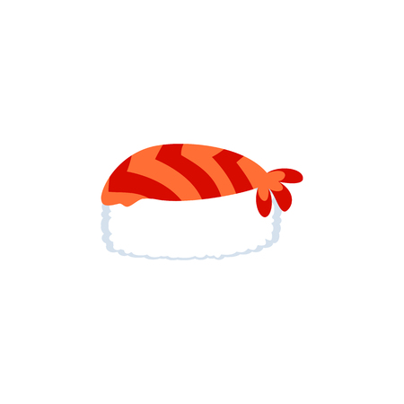 Isolated Sushi Flat Icon. Gourmet Vector Element Can Be Used For Sushi, Gourmet, Seafood Design Concept. Illustration