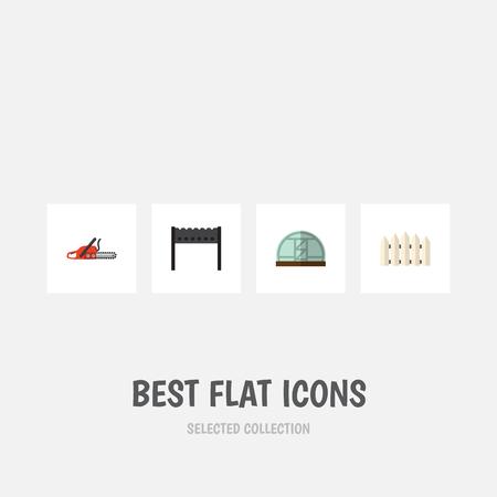 Set d'icône plate Dacha de scie à métaux, barrière en bois, serre chaude et autres objets vectoriels. Comprend également Brazier, Farm, Blade Elements.