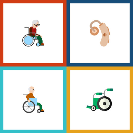 Flat Icon Handicapped Set Of Handicapped Man, Audiology, Wheelchair Vector Objects. Also Includes Disabled, Equipment, Hearing Elements. Illustration