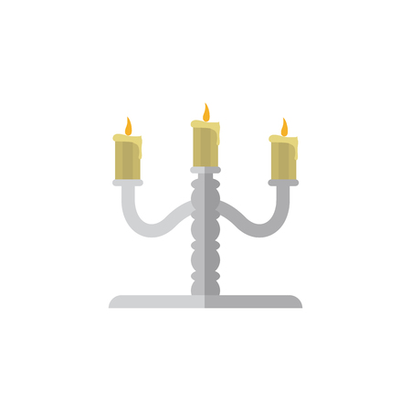 Isolated Candelabrum Flat Icon. Candlestick Vector Element Can Be Used For Candelabrum, Candlestick, Candle Design Concept.
