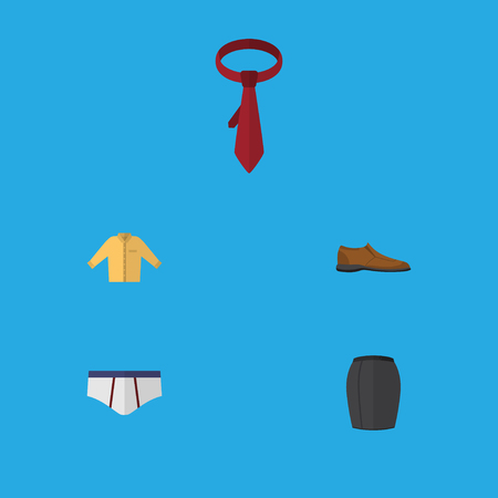 Flat Icon Clothes Set Of Banyan, Cravat, Male Footware And Other Vector Objects. Also Includes Skirt, Necktie, Footware Elements.